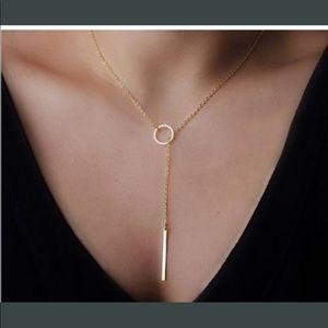 Golden bar circle Lariat Necklace